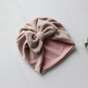 Turban welur pastelowy róż kokarda rozmiary