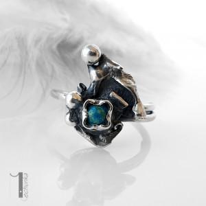 Turkusowy skrzat srebrny pierścionek z turkusem