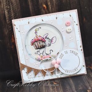 Urodzinowa z myszką - różowa