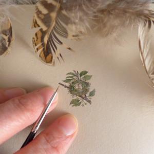 Vintage gniazdo, miniatura ręcznie malowana