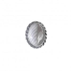 Vintage pierścionek krzemień pasiasty srebro