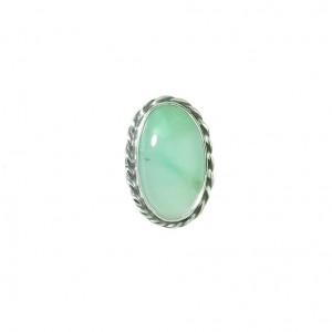 Vintage pierścionek srebro chryzopraz