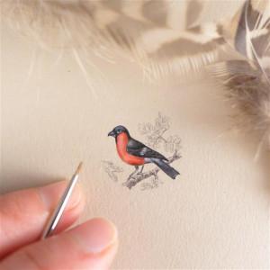 Vintage ptak, Gil, miniatura ręcznie malowana
