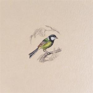 Vintage ptak, sikorka Bogatka, miniatura