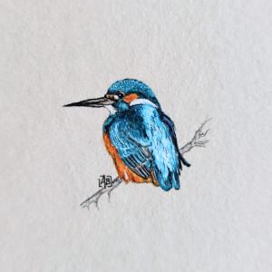 Vintage ptak, Zimorodek, miniatura