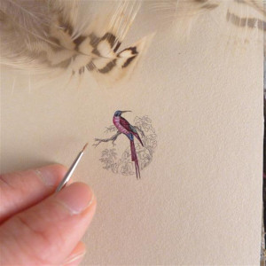 Vintage ptak, żołna, miniatura