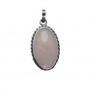 Vintage wisior srebro i  kwarc różowy