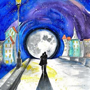 """""""W świetle latarni"""" romantyczna akwarela"""