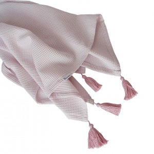 wafelkowy Kocyk/otulacz z chwostami - blady róż