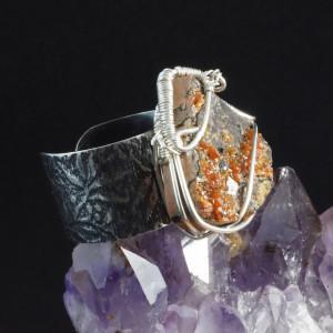 Wanadynit, srebrny pierścionek z wanadynitem