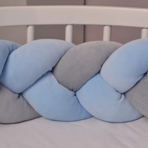 Warkocz  do łóżeczka 210 cm niebiesko(2) szary(1)