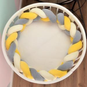 Warkocz szary(1) kremowy(1) żółty(1) 240 cm