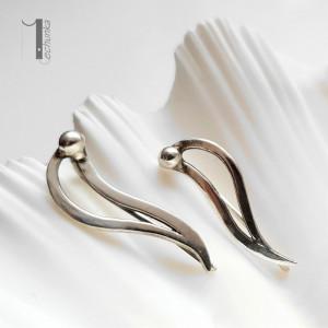 Wave srebrne kolczyki nausznice