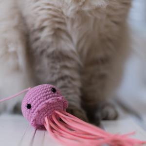 Wędka Meduza dla kota zabawka z kocimiętką Róż