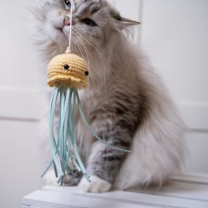 Wędka Meduza dla kota zabawka z kocimiętką żółty