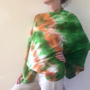 Wełniana narzutka ręcznie barwiona green&orange