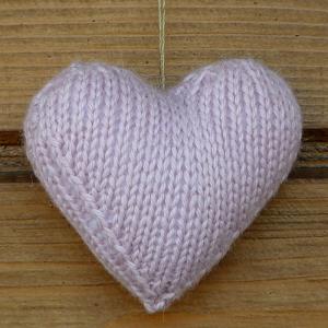 Wełniane Serce w Kolorze Jasnego Różu
