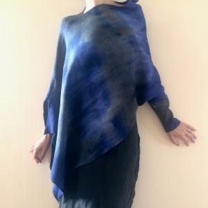 Wełniany asymetryczny sweter blue&gray