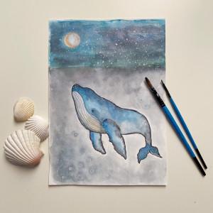 Wieloryb - akwarela do sypialni lub dla dzieci