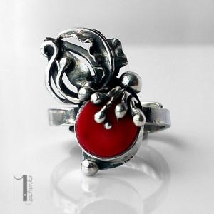 Wildberry ring srebrny pierścionek z koralem