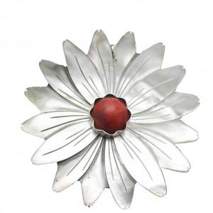 Wisior kwiat macica perlowa i koral