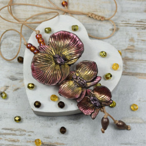 """Wisior """"orchidee"""" w odcieniach jesieni"""