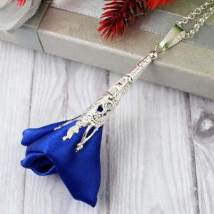 Wisiorek Silk Ażurowy Długi Chabrowy