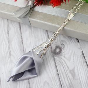 Wisiorek Silk Ażurowy Długi Srebrny #2