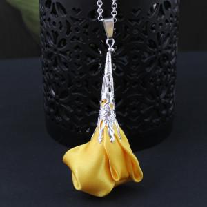 Wisiorek Silk Ażurowy Długi Żółty #2