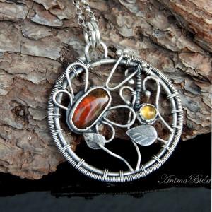 Wisiorek srebrny z ammolitem i cytrynem