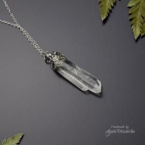 Wisiorek talizman surowy kryształ górski szpic