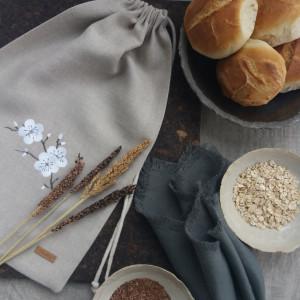 Worek lniany na chleb z haftem