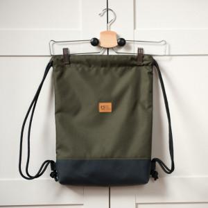 Worek plecak oliwkowy, wodoodporny Kieszonka