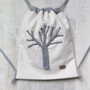 Worek plecak szare drzewo