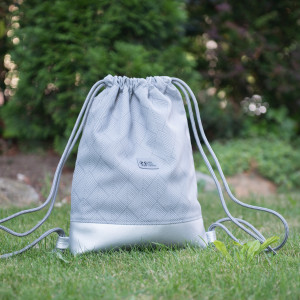 Worek plecak szary srebrny, wodoodporny Kieszonka