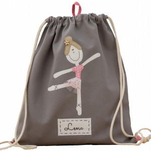 worek plecak z imieniem baletnica szary
