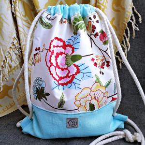 Worko plecak - kwiaty + mięta