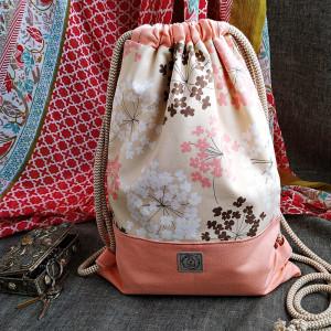 Worko plecak - kwiaty z koralowym różem
