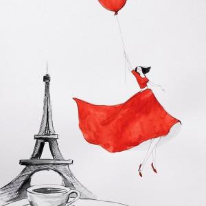 """""""Wpadłam na kawę w Paryżu"""" akwarela, Wieża Eiffla"""
