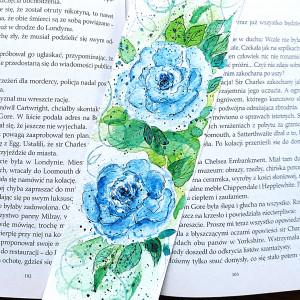 """Zakładka akwarelowa """"Niebieskie róże"""""""