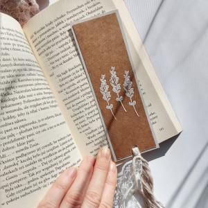 Zakładka do książek Eco Lawenda biało-szara