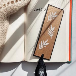 Zakładka do książek Eco Listki biało-czarna