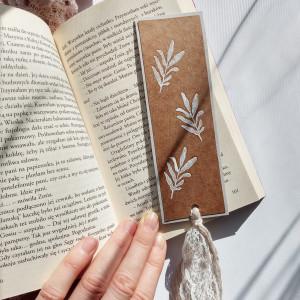 Zakładka do książek Eco Listki biało-szara