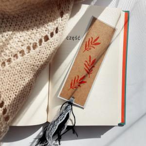 Zakładka do książek Eco Listki pomarańczowo-szara