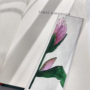 Zakładka ręcznie malowana z kwiatami Hosta .