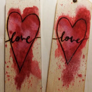 Zakładki drewniane do książki love 2 sztuki