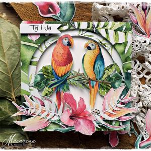 Zakochane papugi - kartka ślubna