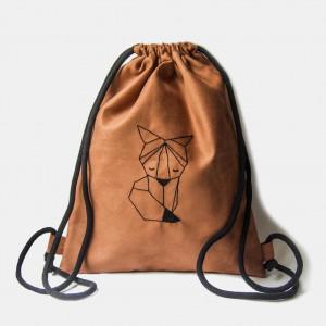 Zamszowy plecak worek z geometrycznym lisem