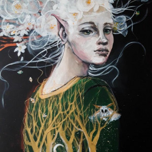 """Zapach jaśminu"" obraz akrylowy na płótnie 100x70"