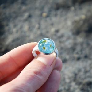 Zatopek pierścionek kwiaty niezapominajki